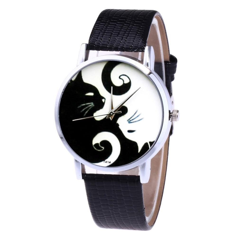 ZHOULIANFA Brand New Quartz Watch Women Leather Strap Korean Lady Student Watch Cat Print Quartz Wrist Watch Gift Clock Reloj Fi