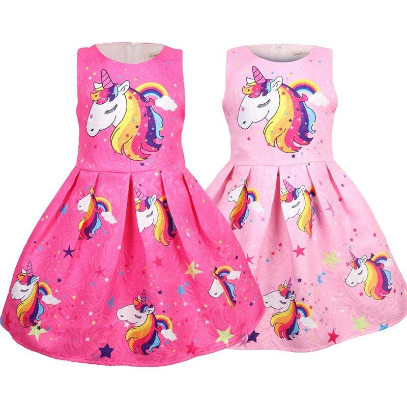 2020 Summer Unicorn Girl Dress Girl Birthday Gift Costume Party Clothes Child Princess Child Dress Child Clothing