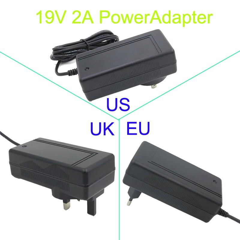 Envío Gratis adaptador AC/DC/Adaptador 19V 2A 2000mA 5,5x2,1mm cargador de fuente de alimentación US/EU/UK enchufe para aspiradora, robots de barrido