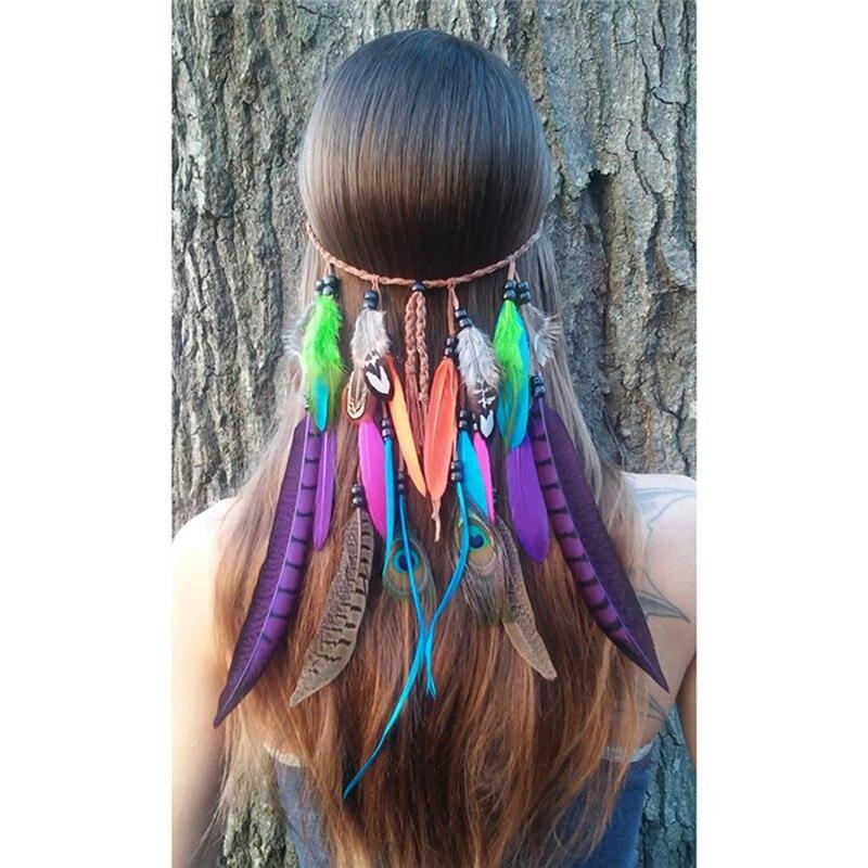 Plumas de pavo real Indio bohemio carnaval Bonfire diademas para fiestas de moda diadema para fiesta diadema hippie accesorios para el cabello