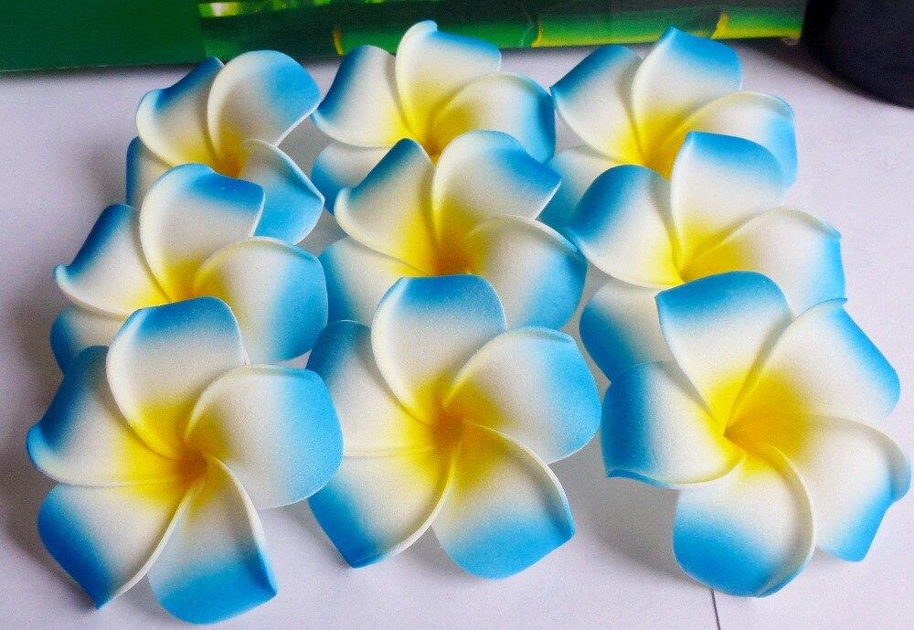 "100 piezas de moda color azul espuma Frangipani flor hawaiana Plumeria flor para novia boda decorar 6 cm (2- 1/2 "") no clip"