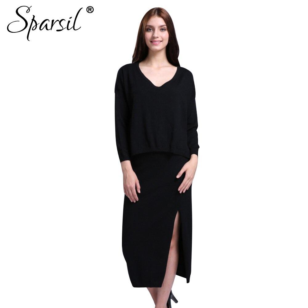 Sparsil mujer invierno Cachemira mezcla suéter de manga murciélago + Falda larga/conjunto femenino estilo suelto Jersey de punto