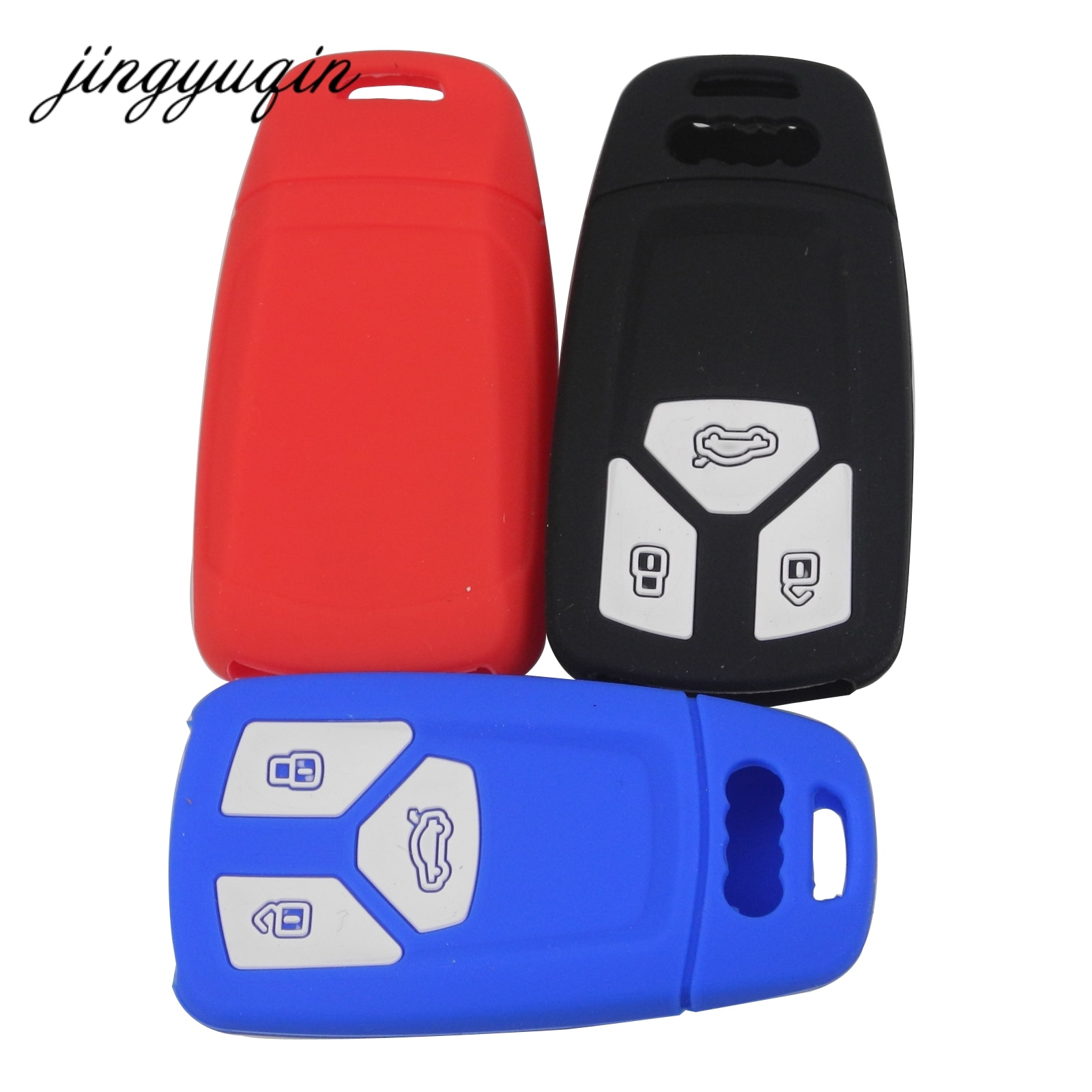 Силиконовый чехол для ключей jingyuqin для Audi A4 4m 8s allroad B9 Q5 Q7 TT TTS 3BTN дистанционный резиновый защитный чехол без ключа