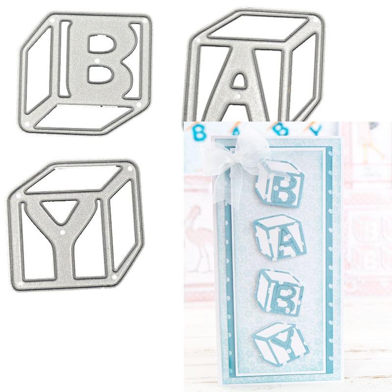 3D bebé cúbicos de corte de metal muere troquel DIY plantilla recortable decorativo álbum de recortes artesanía tarjeta plantillas Plantilla