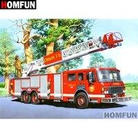 HOMFUN     peinture diamant theme  camion de pompiers   broderie complete 5D  perles carrees ou rondes  points de croix  a faire soi-meme  decoration dinterieur  cadeau  A07251