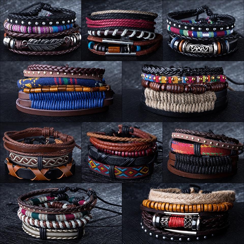 Atacado 4 pçs/lote artesanal étnica tribal corda genuína envoltório encantador masculino pulsera preto marrom trançado pulseiras de couro pulseiras