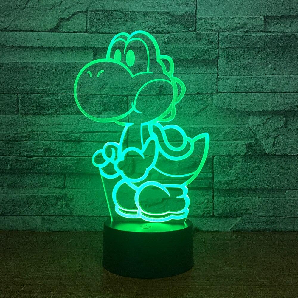 Yoshi, Mario 3D LED USB Lámpara dibujos animados juego figura Super acrílico novedad Navidad iluminación regalo RGB táctil mando a distancia Juguetes