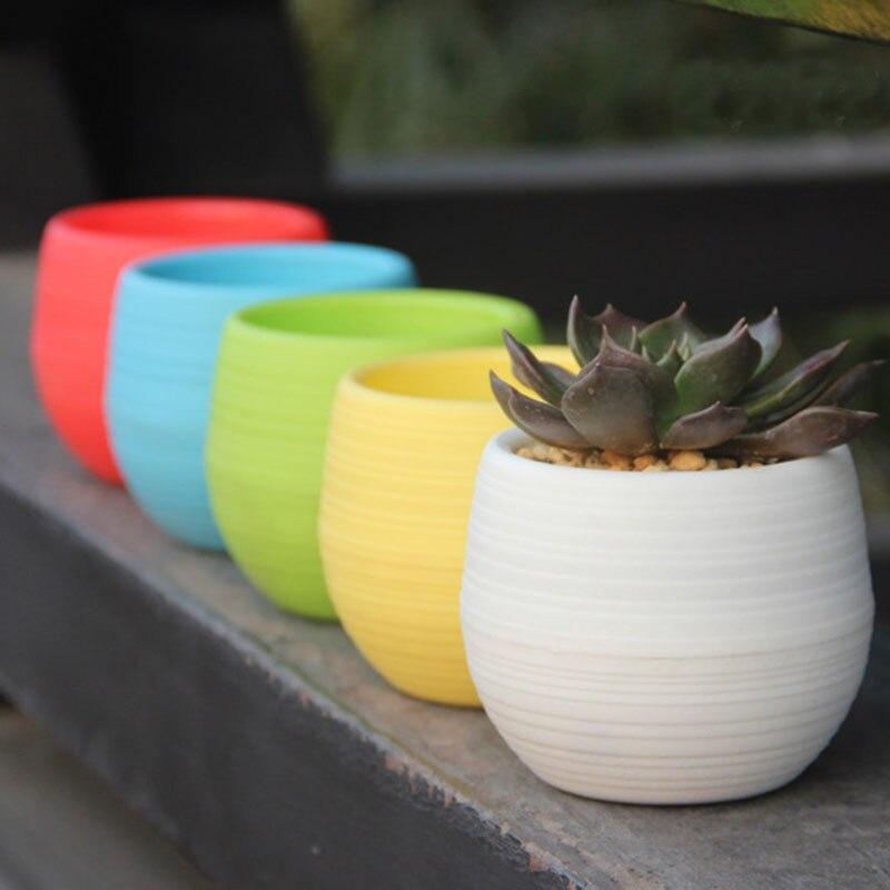1 pieza Mini maceta redonda de plástico macetas de flores para el hogar jardín decoración de oficina suministros de jardín