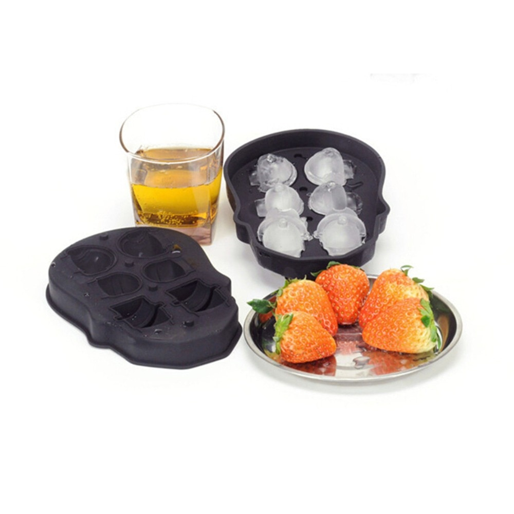 6 orificios silicona pequeña bebida whisky cráneo cubo de hielo molde bandeja bolas fabricante negro beber barware bar herramientas para brandy