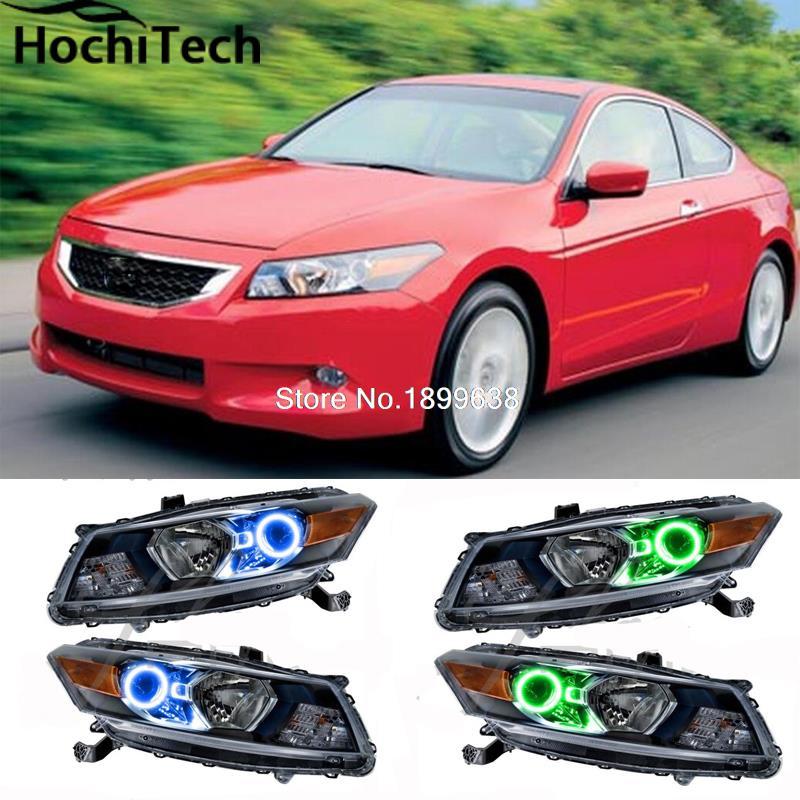 Para Honda Accord Coupe 2008 2009 2010 RGB LED faros anillos halo angel demon eyes con control remoto