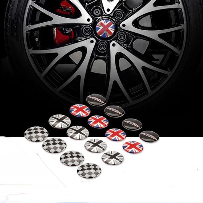 4pcs Aluminum Mini cooper S R55 R56 R60 clubman countryman peaceman roadstar car wheel sticker for bmw mini
