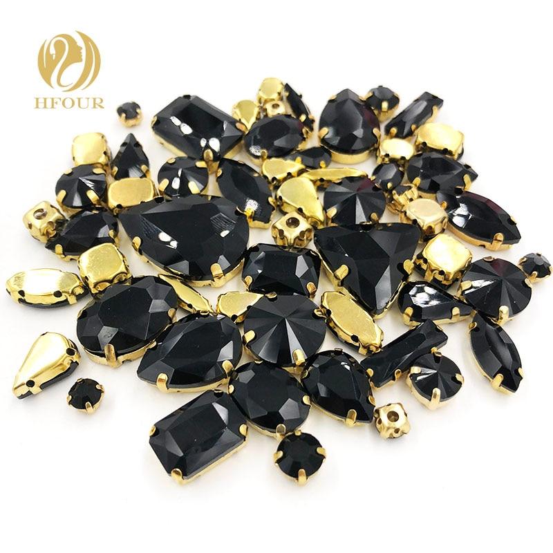 New arrival Gold base mixed shape mix size black glass crystal flatback sew on rhinestones DIY Garment/ Shoes/Bag/Wedding dress