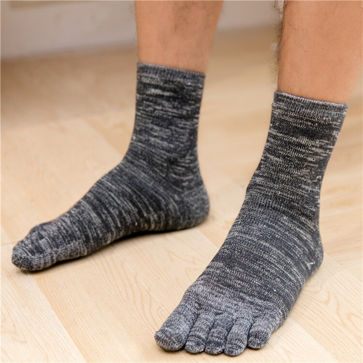 3 Pairs Winter Five Finger Socks Men Cotton Thicken Towels Toe Socks Crew 5 Finger Dress Socks Wholesale
