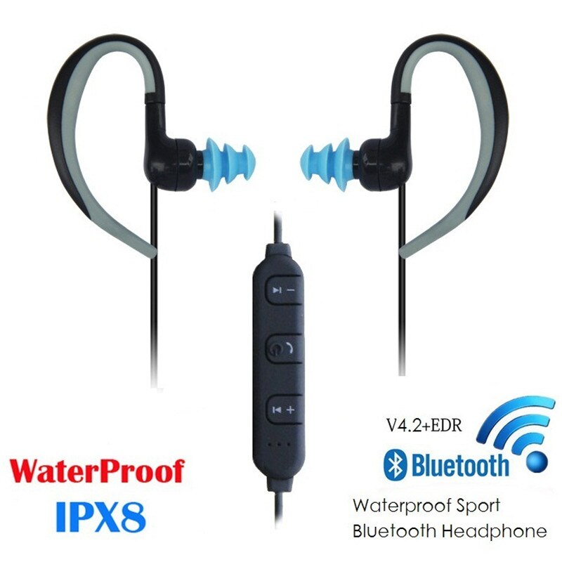 IPX8 auriculares Bluetooth impermeables, auriculares para natación y Running, auriculares inalámbricos Bluetooth 4,2, auriculares con micrófono para teléfono móvil