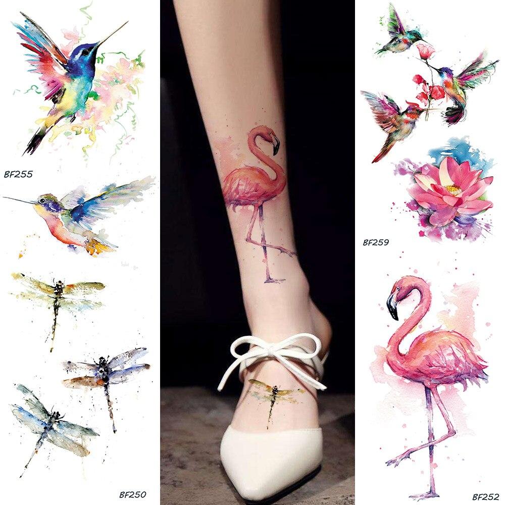Acuarela flamenco falso tatuaje temporal pegatinas HummingBirds libélula tatuajes falsos arte corporal impermeable tatuaje de brazos