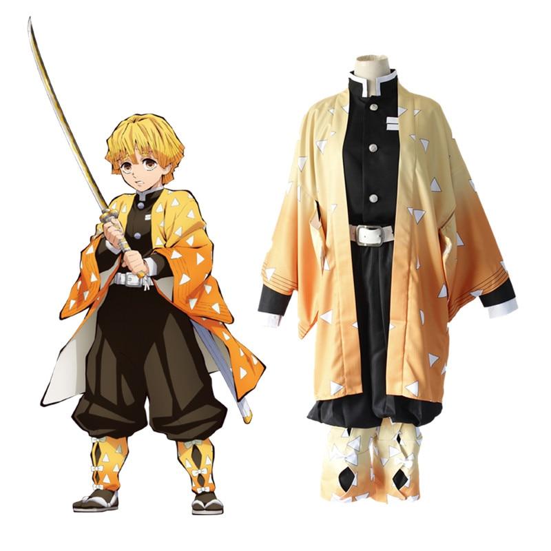 Cosplay de Anime Blade Of Demon, disfraz de Zenitsu Agatsuma, disfraz para Halloween, carnaval, fiesta, Kimetsu No Yaiba, pelucas para Cosplay