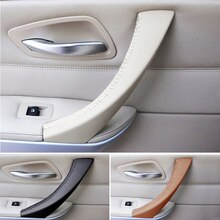 Para BMW Serie 3 E90 E91 330 325 320 318 costura Interior Micro cuero derecho/izquierdo para manija de panel de puerta cubierta embellecedora de tirar