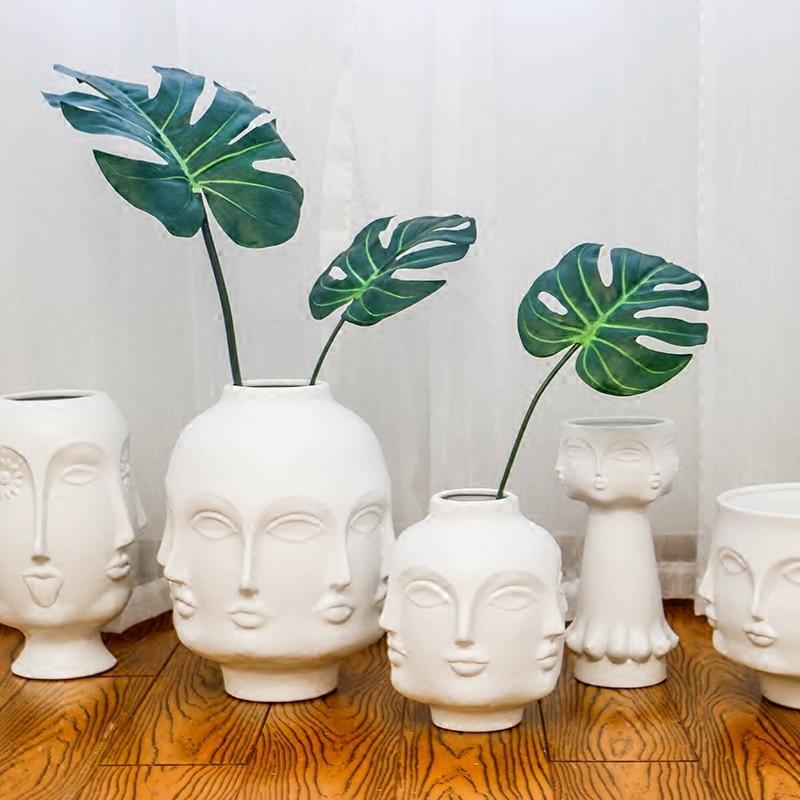 Creative Face Ceramic Vase Flowers, Artificial Flowers, Decorative White Vase  Nordic Decoration Home