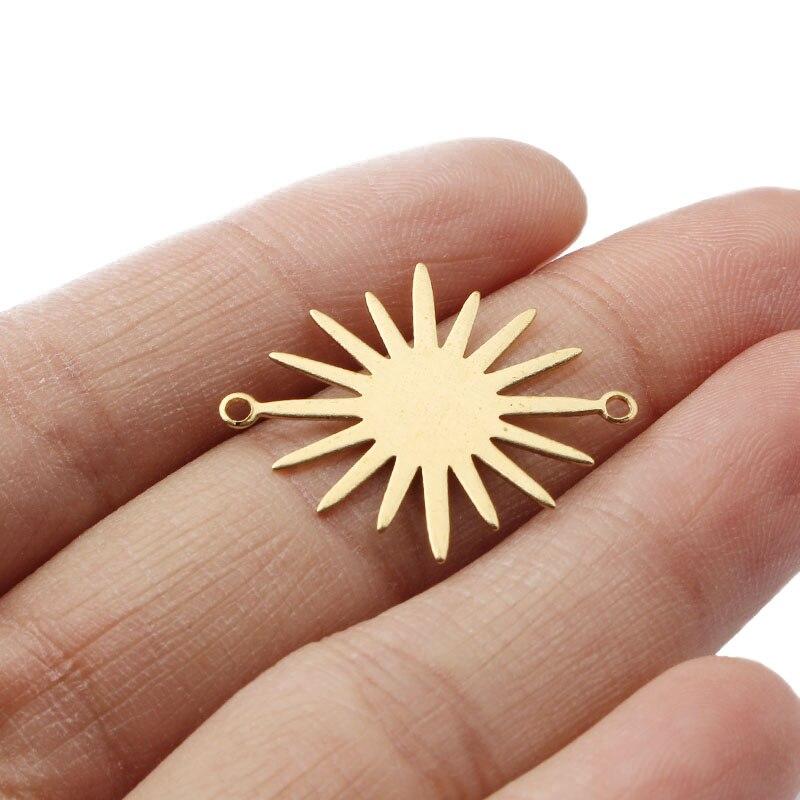 40 pçs de bronze cru pequeno sol encantos pingentes placa ouro diy pulseira colar jóias makings achados