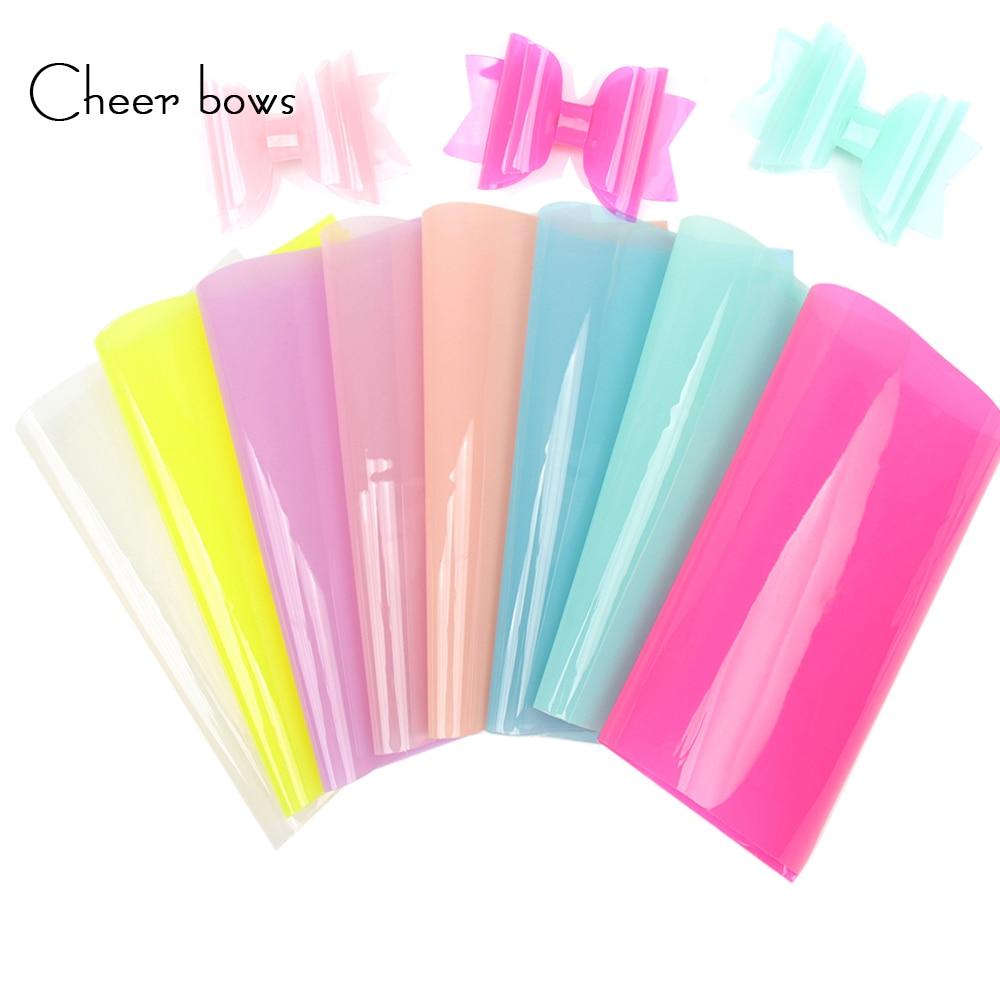 Cheerbows Candy Synthetic Leather Fabric Sheets  Jelly PVC Transparent Shiny Vinyl For Summer Party Decor DIY Hair Accessories