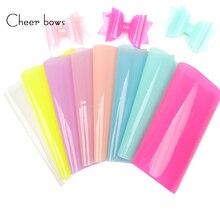 Cheerbows şeker sentetik deri kumaş levhalar jöle PVC şeffaf parlak vinil yaz parti dekor DIY saç aksesuarları