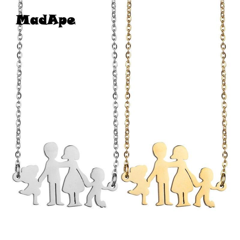 MadApe Acero inoxidable padre Mothe hijo hija Collar DE FAMILIA padre niños niño niña colgante collares para regalo de aniversario