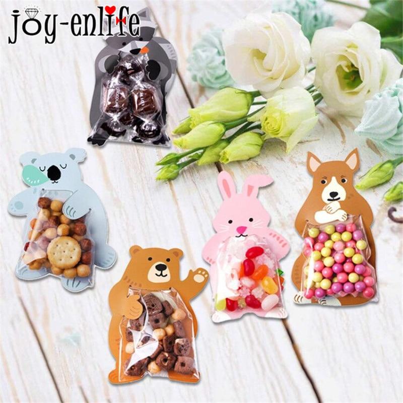 10pcs Jungle Animal Mini Candy Bag Birthday Party Decorations Kids Safari Party DIY Plastic Cookie B