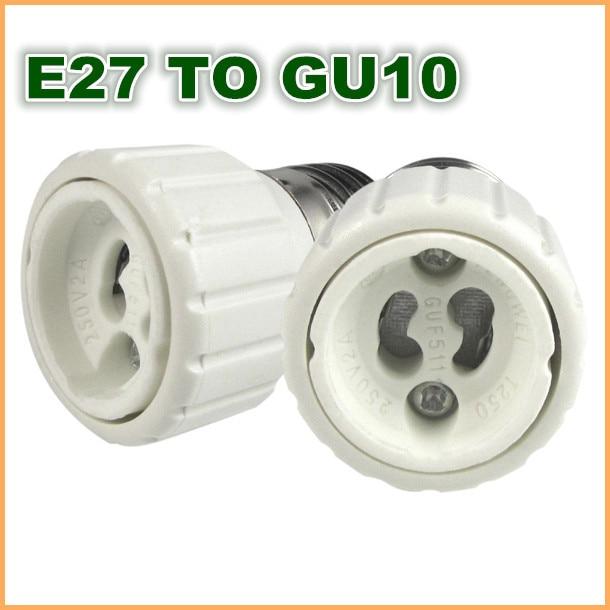 Alta calidad ABS E27 T GU10/GU10 a E27 E26 Edison tornillo hembra adaptador base convertidor bombilla led lámpara