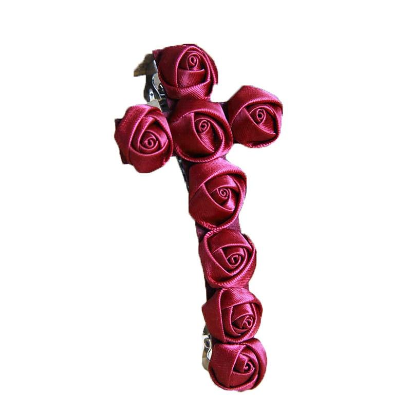 Mujeres señora chica Chic hecho a mano 3,3 pulgadas Multi rojo flor Rosa Cruz pelo Clip Pin Barrette vampiro novia Cosplay gótico lolita