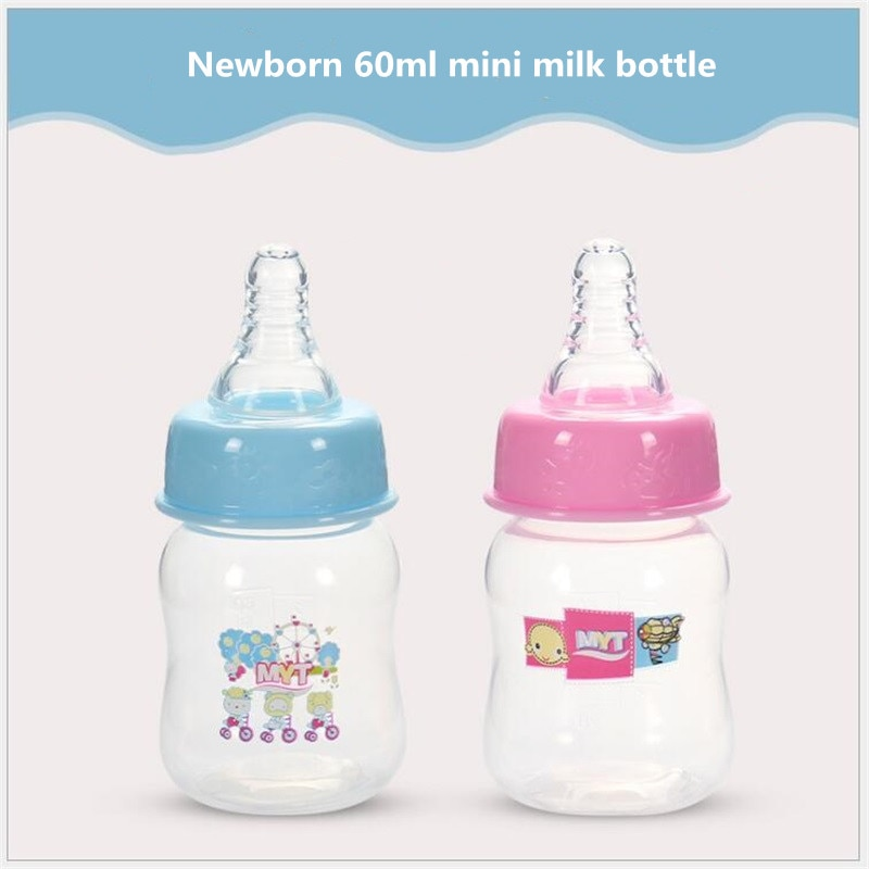 60ml mini portátil alimentación de bebé botella para beber leche de los niños gran PP boca pezón botella de leche infantil de alimentación botella de pezón