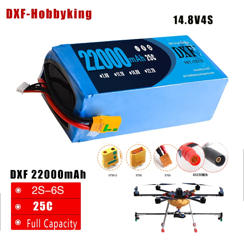 2017 DXF Lipo batería 14,8 V 22000 mAh Lipo 4S 25C batería EC5 macho baterías para Quadcopter UAV Drones RC helicóptero Drone