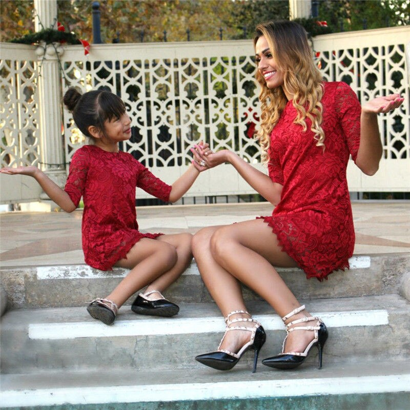 Vestidos a juego de la familia madre hija mujeres niñas vestido de encaje rojo media manga ropa de fiesta