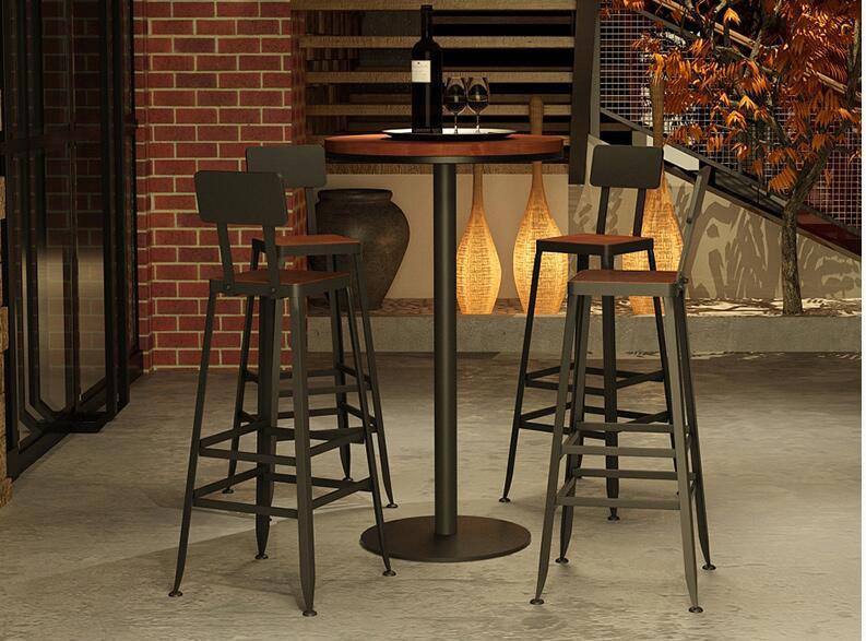 Фото - Барный стул из цельной древесины, европейский Железный арт, барный стул, барная стойка, современный простой стул, высокий стул, барный стул [магазин сша] кованый железный стеклянный высокий барный стол патио барный стол черный
