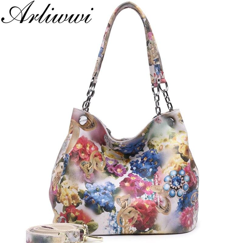 Arliwwi 100% véritable cuir brillant coloré fleur de luxe platine chaîne poignée femmes sacs à bandoulière mode sac à main à fleurs GY08