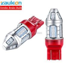 Zauleon 2 uds flash estroboscópico T20 7443 W21/5 W LED rojo coche luz trasera bombilla de freno luces lámparas evitar colisión trasera bombilla LED de coche