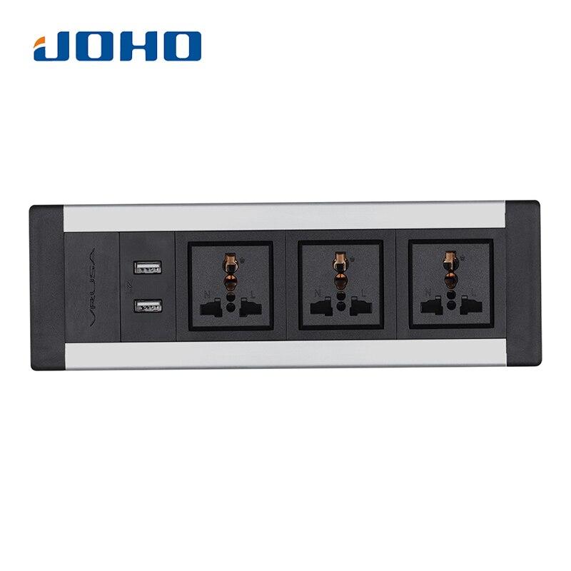 JOHO-مقبس سطح المكتب ، 3 مآخذ ، شاحن USB مزدوج ، 250 فولت 10 أمبير/16 أمبير ، مقبس طاولة عالمي ، كابل بيانات سطح المكتب ، الكمبيوتر المحمول