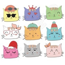 Colife لطيف القطط بقع 9 قطعة/الوحدة الحديد على نقل الأطفال تي شيرت الجينز DIY الديكور A-مستوى قابل للغسل ملصقات