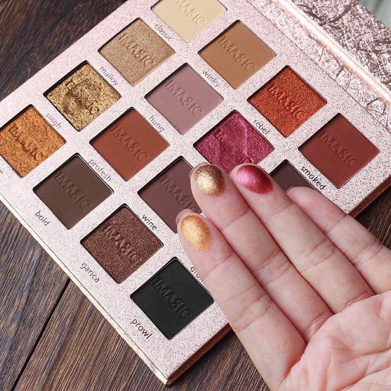 IMAGIC clásico modelo encantador sombra de ojos 16 paleta de colores paleta de maquillaje mate brillo pigmentado sombra de ojos polvo