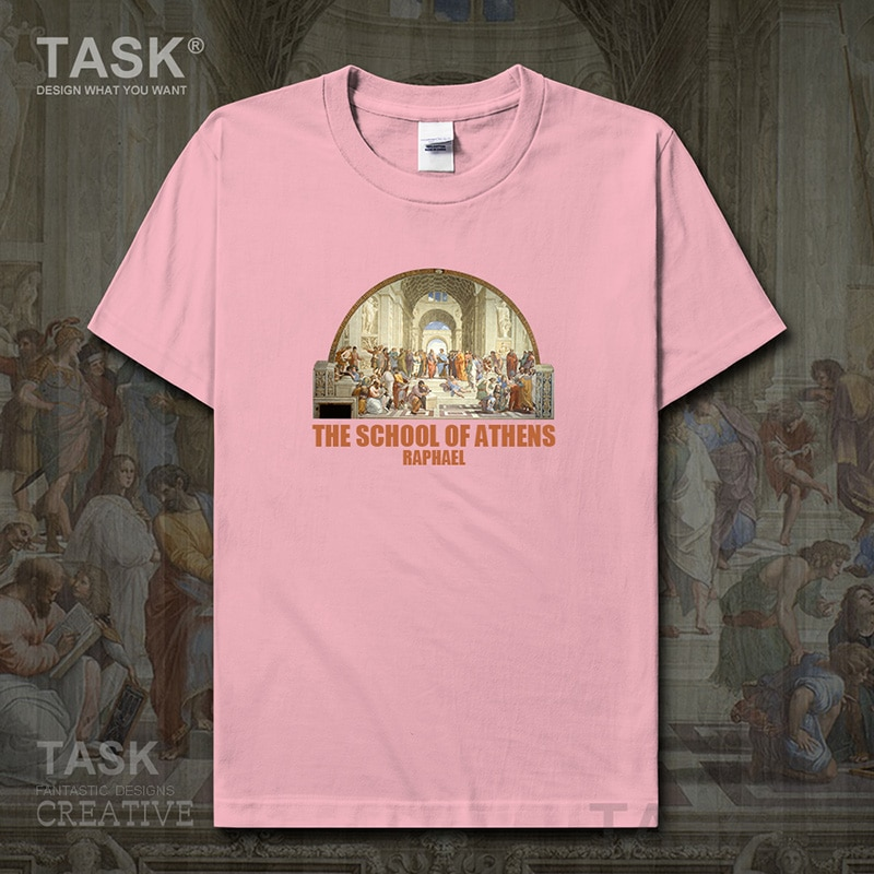 Camiseta para hombre con pintura al óleo a la moda con estampado retro de la Escuela de Athens ropa de verano de algodón nuevo