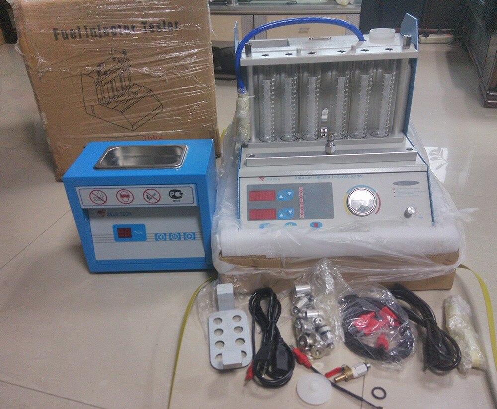 6 cilindros de inyector de combustible ultrasónico máquina de prueba de limpieza usada para coches de gasolina de 12V con envío gratis a Tailandia