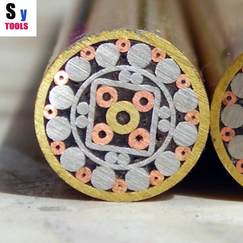 10mm/0,39 pulgadas de diámetro de incrustación de remaches de Pin de mosaico 5cm de tubo cuadrado de acero de tornillo para MANGO de cuchillo mosaicos estilo exquisito