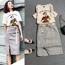¡Con fajas! Faldas de verano para mujer, trajes de manga corta, Camisetas estampadas para mujer, blusa y falda a cuadros, corte a la rodilla, conjunto de trajes de falda NS243