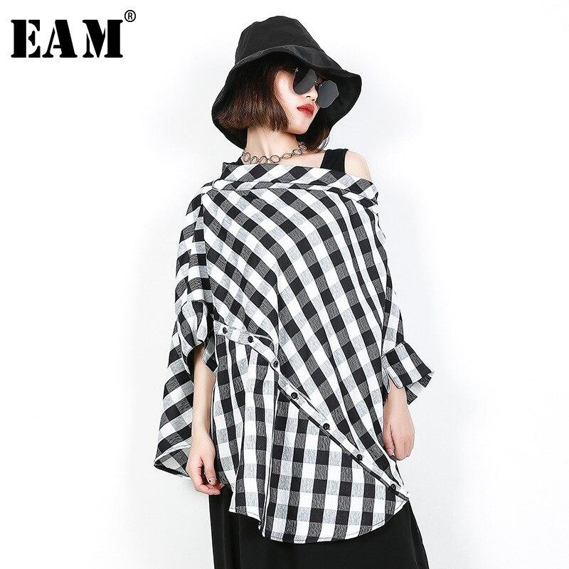 [EAM] 2020 New Spring Summer  Slash Neck Three-quarter Sleeve Black Plaid Split Joint Big Size Shirt Women Blouse Fashion JF608