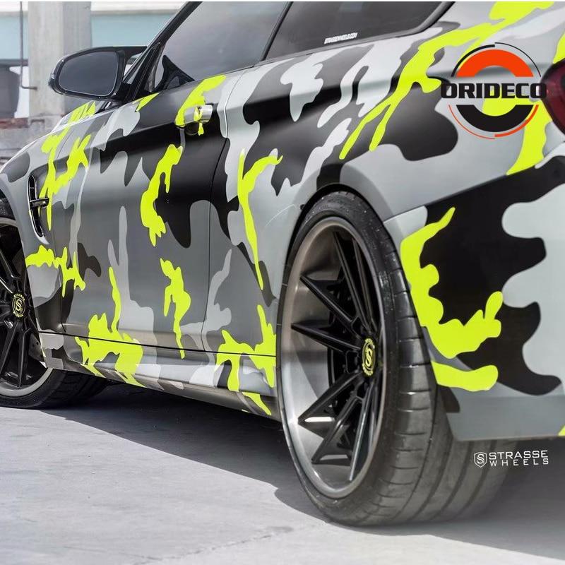 5/10/15/20/25/30m * 1,52 m amarillo gris negro camuflaje hoja de vinilo fluorescente amarillo negro vinilo de camuflaje para Auto Vehicle Body Wraps