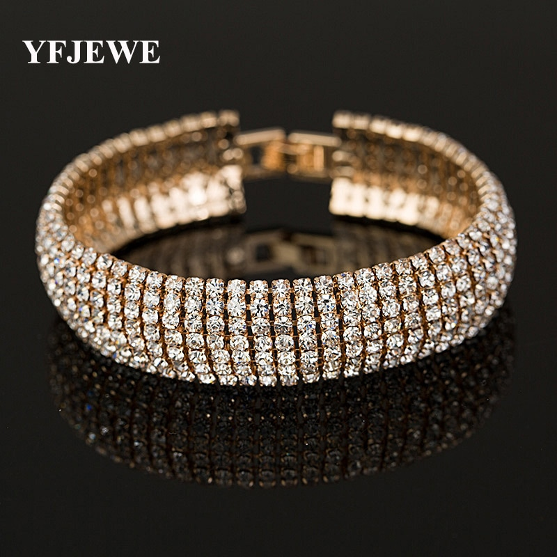 YFJEWE preço de Fábrica de Ouro e Cor de Prata Clássico Cristal Pavimenta Ligação Pulseira Pulseira Da Moda Jóias de Strass Completo Mulheres B011