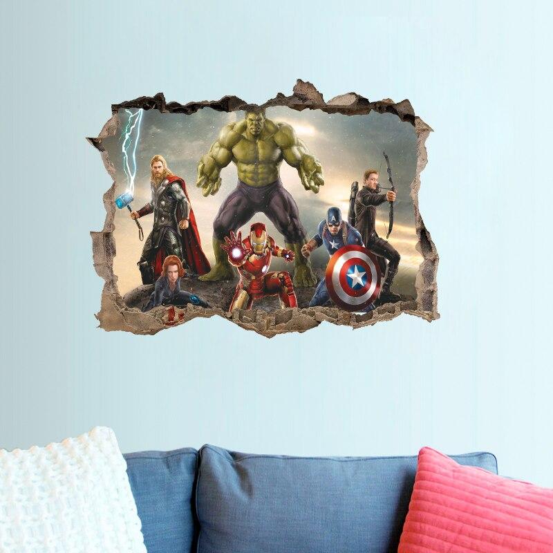 Stickers muraux de film Avengers pour enfants   Décoration de maison avec effet 3D, autocollants décoratifs en PVC, Art Mural bricolage, affiches dart