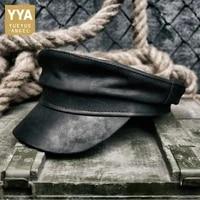 luxury men sheepskin genuine leather flat cap retro military hat boina fashion winter man leather reggae beanie motor biker cap
