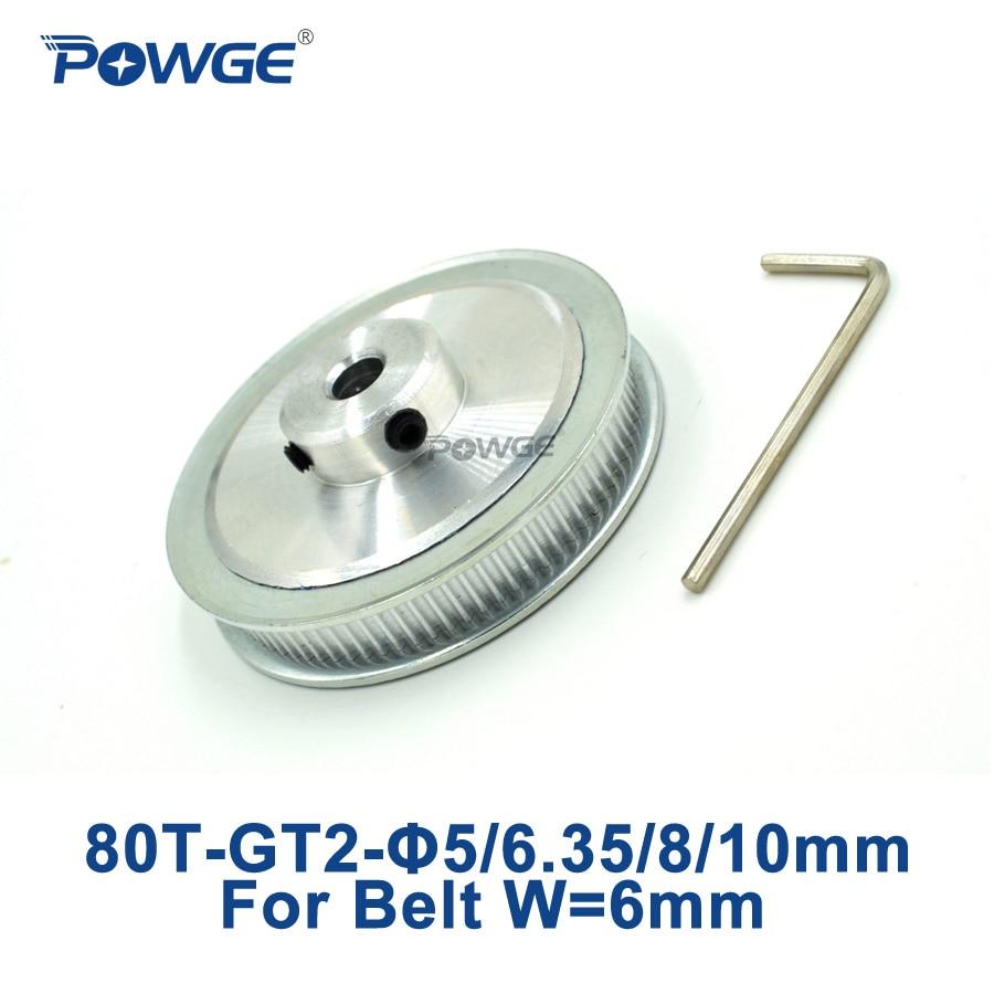 Powge 1 pces 80 dentes gt2 polia cronometrando furo 5mm 6.35mm 8mm 10mm para largura 6mm gt2 correia dentada 2gt polia 80 dentes 80 dente 80 t