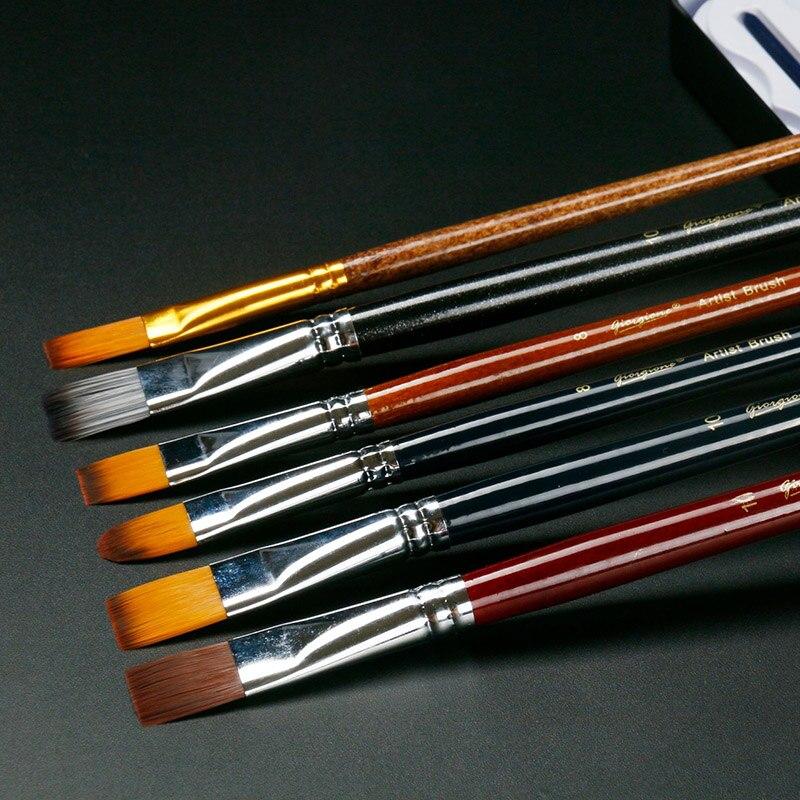 6 teile/satz Aquarell gouache pinsel nylon haar Kurze stange Acryl kunst malerei pen-set student zeichnung Liefert Malerei Pinsel