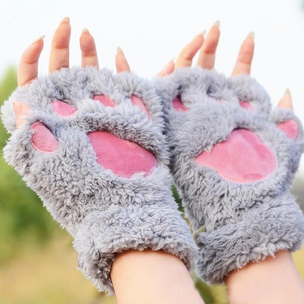 Gran oferta suaves de oso/gato felpa pata/garra guante-novedad Halloween suave toalla señoras guantes medio cubiertos mitones